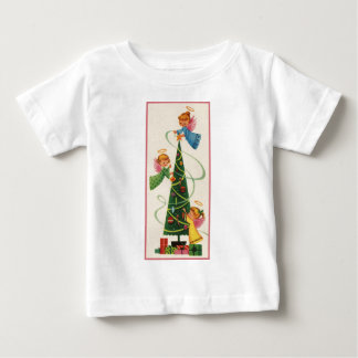 Three Little Angels and a Christmas Tree Baby T-Shirt