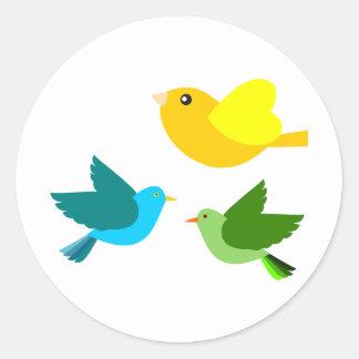 Three Little Birds Round Stickers