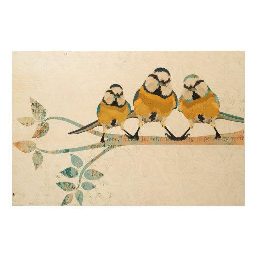 Wall Art 3 Line Of Birds : Three little birds wooden canvas wood wall art zazzle