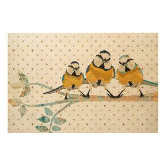 THREE LITTLE BIRDS Wooden Canvas Wood Wall Decor