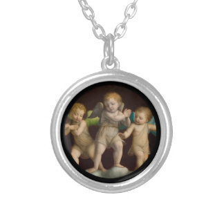 Three Little Cherubs or Angels Silver Plated Necklace