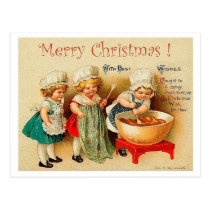 Three little cooks, vintage Christmas holiday Postcard