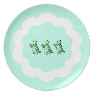 Three Little Dinosaurs Melamine Plate