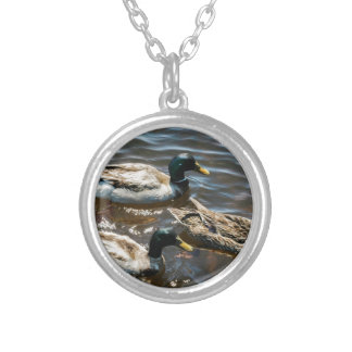 Three Little Ducks Round Pendant Necklace