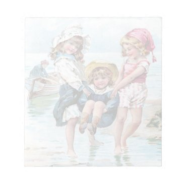 Three Little Girls Playing at the Beach Notepad