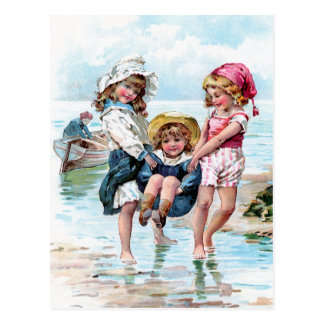 Three Little Girls Playing at the Beach Postcard