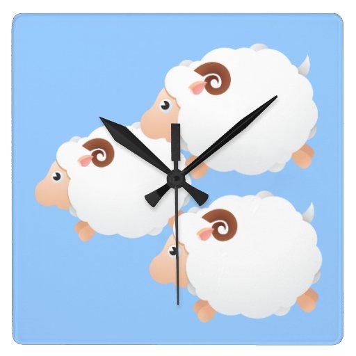 THree Little Lambs Square Wall Clock