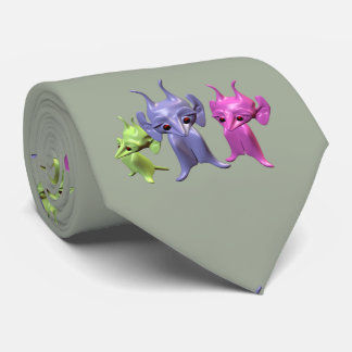 Three little martians all dressed in green, pink a neck tie