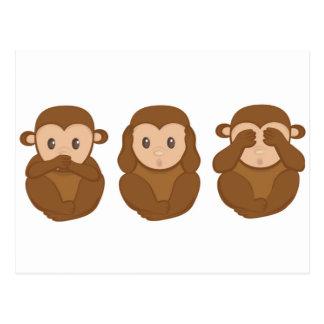 Three little monkeye postcard
