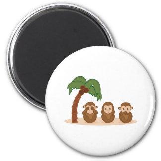 Three little monkeys - three macaquinhos 2 inch round magnet