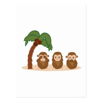 Three little monkeys - three macaquinhos postcard