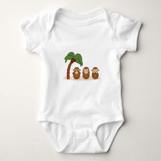 Three little monkeys - três macaquinhos body para bebé