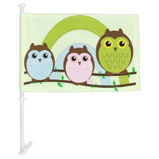 Three Little Owls Car Flag