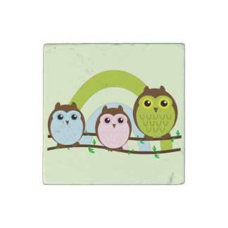 Three Little Owls Stone Magnet