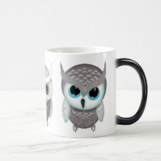 Three Little Owls Illustrated Art Magic Mug