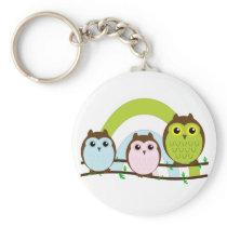 Three Little Owls Keychain