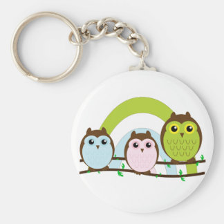 Three Little Owls Keychain
