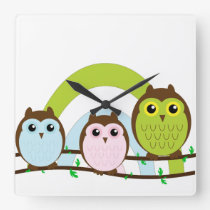 Three Little Owls Square Wall Clock
