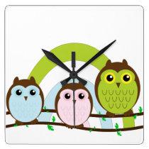 Three Little Owls Square Wall Clock