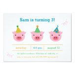 Three Little Pigs 5x7 Paper Invitation Card