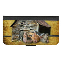 Three Little Pigs At The Rustic Barn Snoozing iPhone 8/7 Wallet Case