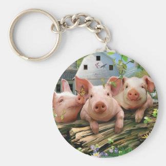 Three Little Pigs Basic Round Button Keychain