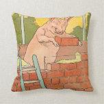 Three Little Pigs: Bricks to Build a House Throw Pillows