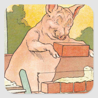 Three Little Pigs: Bricks to Build a House Square Sticker