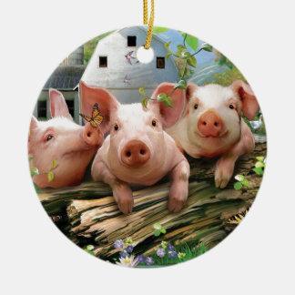 Three Little Pigs Ceramic Ornament