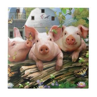 Three Little Pigs Ceramic Tile