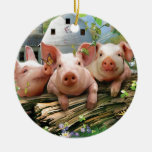Three Little Pigs Double-Sided Ceramic Round Christmas Ornament