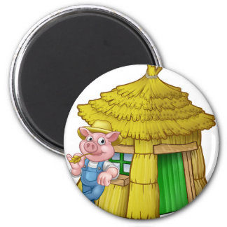 Three Little Pigs Fairy Tale Straw House Magnet