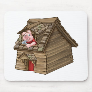 Three Little Pigs Fairy Tale Straw House Mouse Pad