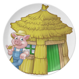 Three Little Pigs Fairy Tale Straw House Plate