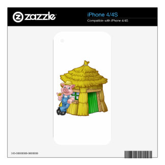 Three Little Pigs Fairy Tale Straw House Skin For The iPhone 4S