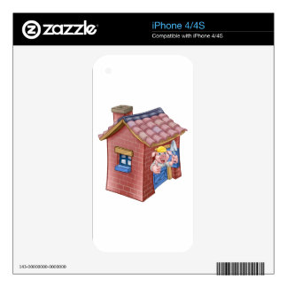 Three Little Pigs Fairy Tale Straw House Skins For iPhone 4