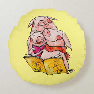 Three Little Pigs love to read Round Pillow