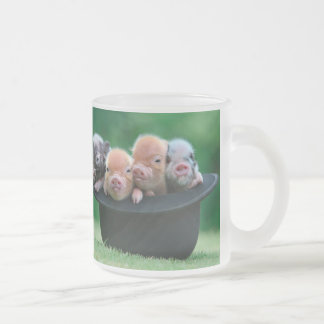 Three little pigs - three pigs - pig hat frosted glass coffee mug