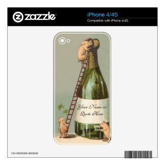 Three Little Pigs Uncork Champagne - Funny, Cute Decal For The iPhone 4S