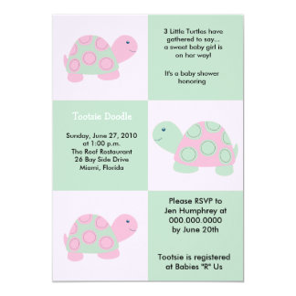 Three Little Turtles Mod Turtle 5x7 Baby Shower Personalized Announcements