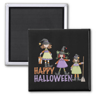 Three Little Witches Halloween Fun 2 Inch Square Magnet