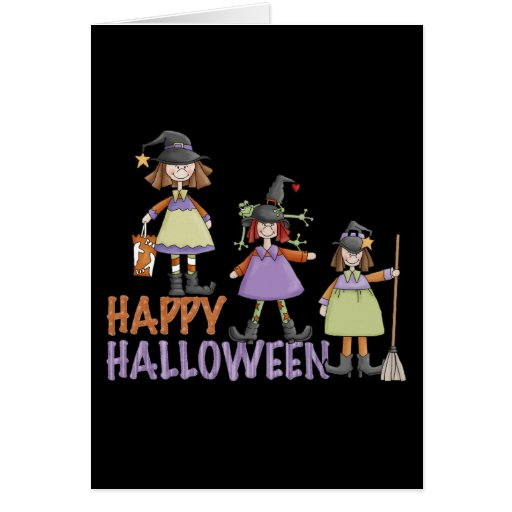 Three Little Witches Halloween Fun Cards