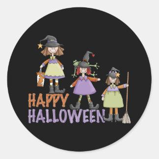 Three Little Witches Halloween Fun Classic Round Sticker
