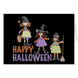 Three Little Witches Halloween Fun Greeting Card