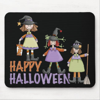 Three Little Witches Halloween Fun Mouse Pad
