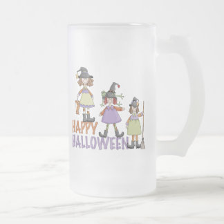 Three Little Witches Halloween Fun 16 Oz Frosted Glass Beer Mug