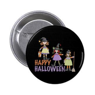 Three Little Witches Halloween Fun Pinback Button