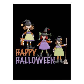 Three Little Witches Halloween Fun Postcard