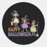 Three Little Witches Halloween Fun Round Stickers
