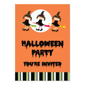 Three Little Witches Halloween Party 5x7 Paper Invitation Card